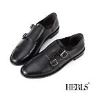 HERLS孟克鞋-全真皮經典小圓頭雙釦環孟克鞋-黑色