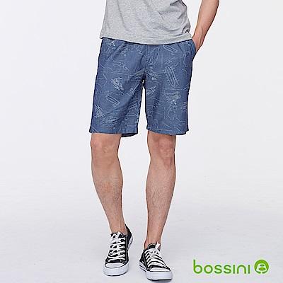 bossini男裝-印花輕便短褲02牛仔藍