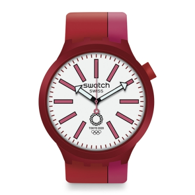 Swatch 奧運系列手錶 BB KURENAI RED -47mm