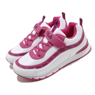 Fila 休閒鞋 J802U 運動 童鞋 輕便 魔鬼氈 舒適 穿搭 串標 中大童 白 粉 3J802U159