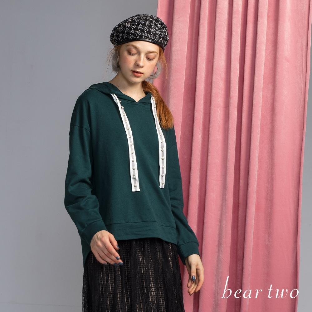 beartwo - 珠珠織帶抽繩連帽上衣 - 綠