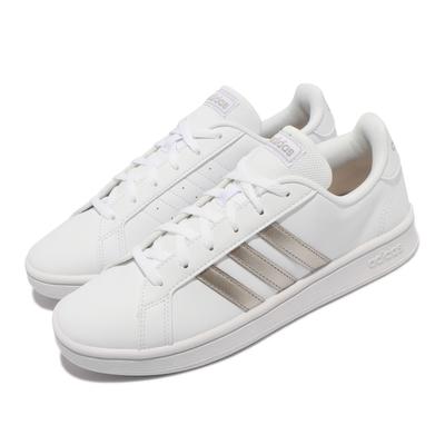 adidas 休閒鞋 Grand Court Base 女鞋 海外限定 愛迪達 復古 皮革 球鞋穿搭 白 銀 EE7874
