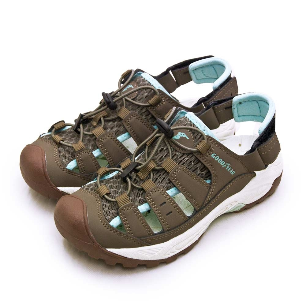 GOODYEAR 排水透氣輕便水陸護趾涼鞋 棕藍 02621