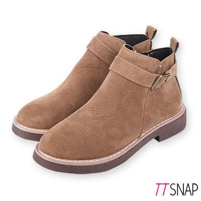 TTSNAP短靴-韓國簡約微尖單繞帶中跟靴 棕