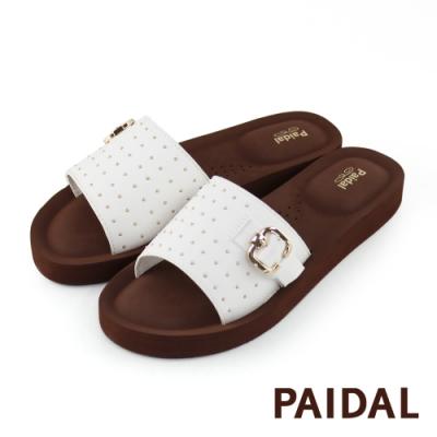 Paidal 搖滾鉚釘扣環厚底一片式美型拖鞋-白