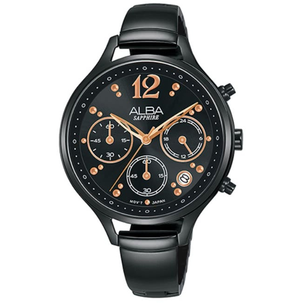 ALBA雅柏 經典俏皮時尚腕錶-黑36mm(VD53-X335SD/AT3F19X1)
