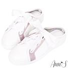 Ann'S第二代夢幻獨角獸緞帶全真皮穆勒小白鞋