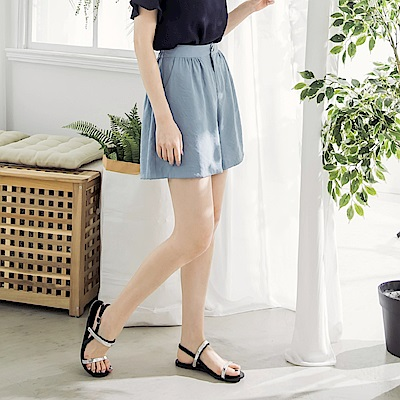 淡雅色調後腰鬆緊寬版短褲-OB大尺碼