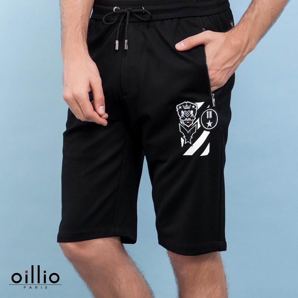 oillio歐洲貴族 休閒彈力直筒短褲 質感超柔棉料伸縮彈性 防皺穿搭款 黑色