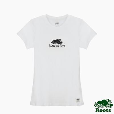 Roots女裝- 刺繡海狸修身短袖T恤-白色