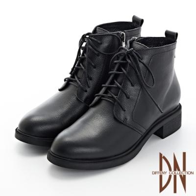 DN短靴_素面真皮綁帶軍風短靴-黑