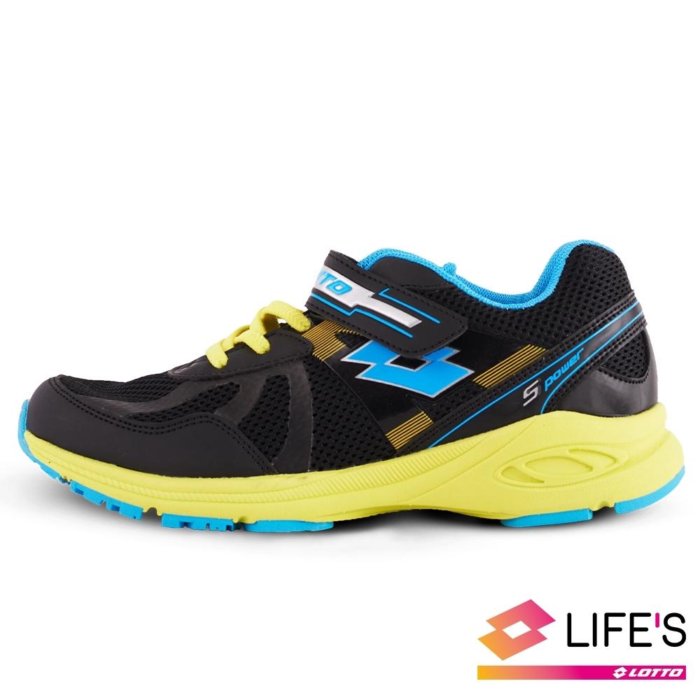 LOTTO 義大利 童鞋 S POWER 競速避震跑鞋(黑黃藍)