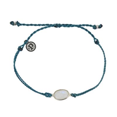 Pura Vida 美國手工 月光石墜飾 地中海綠可調式手鍊衝浪海灘防水手繩