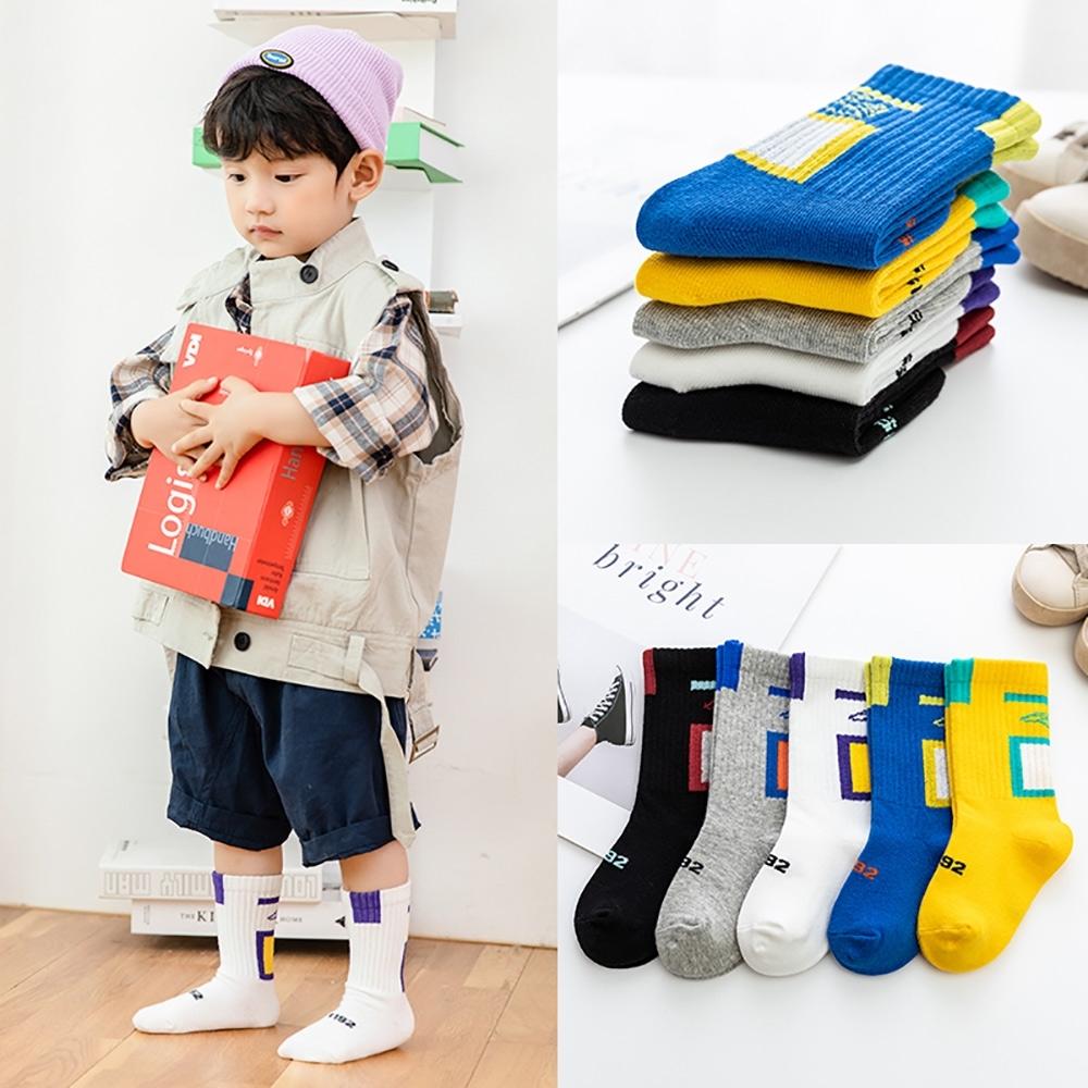 百搭拼接設計幼童大童中筒襪(5雙1組)