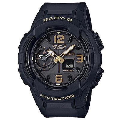 BABY-G 引領潮流系列百變時尚休閒錶(BGA-230-1B)黑色X金時刻42.9mm