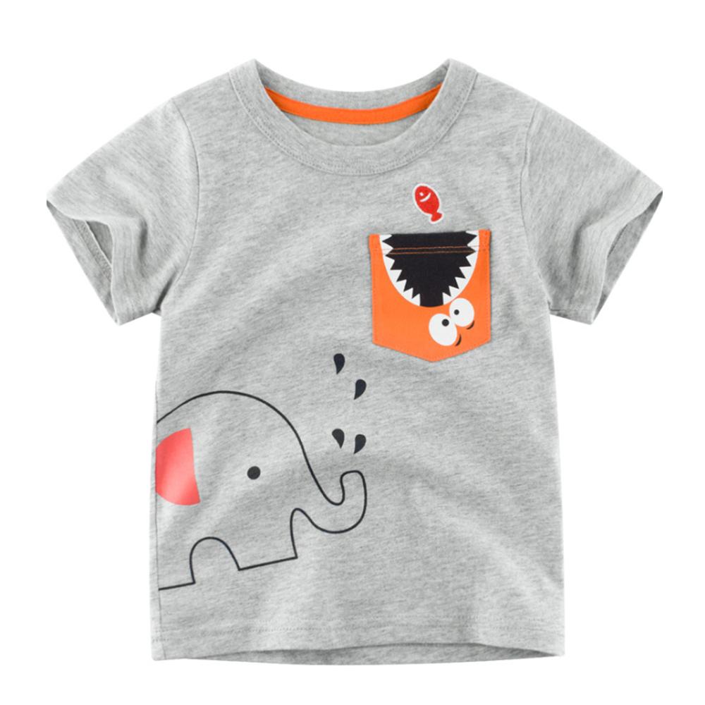 男童 中小童 歐美風格舒柔棉短袖T恤-大象
