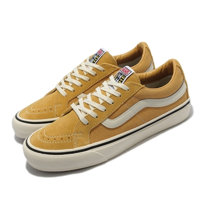 Vans 休閒鞋 SK8 Low Reissue S 男女鞋 麂皮 丹寧布 異材質拼接 情侶鞋 板鞋 卡其 白 VN0A4UWI2V8