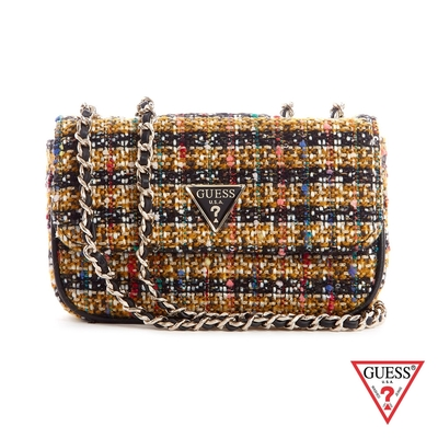 GUESS-女包-時尚毛呢編織鍊條肩背包-棕 原價2490