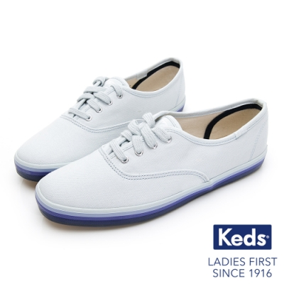 Keds CHAMPION 繽紛彩虹綁帶帆布鞋-藍