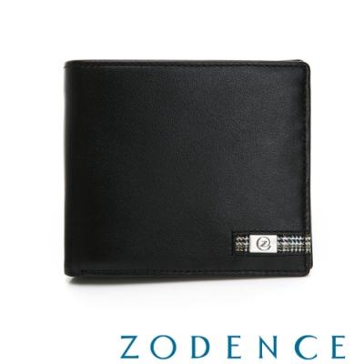 ZODENCE MAN格紋系列進口牛皮零錢袋8卡短夾 黑
