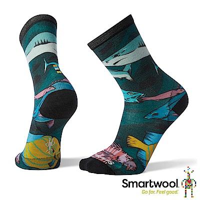 SmartWool 男 Print系列 中長襪 藍綠