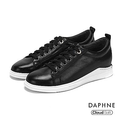 達芙妮DAPHNE 休閒鞋-金屬環釦真皮綁帶休閒鞋-黑