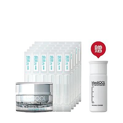 MediQOL安肌補水極潤組(化妝水2mL30入+修護2號極潤霜30g 贈潔膚粉3.5g)
