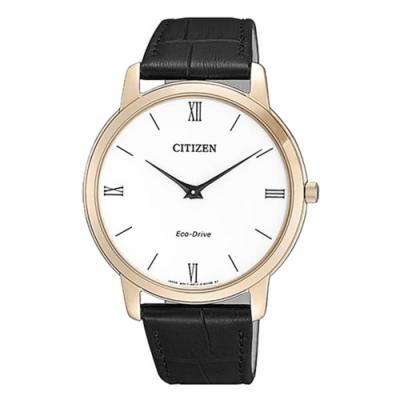 CITIZEN 星辰GENT S光動能極簡羅馬小牛皮革腕錶-黑(AR1133-23A)
