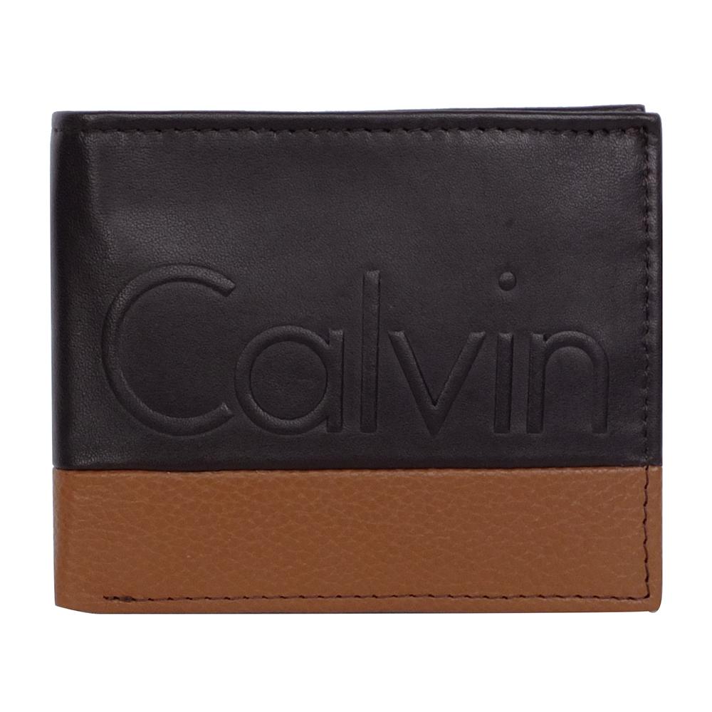 Calvin Klein深咖駝雙色拼接logo烙印雙折短夾