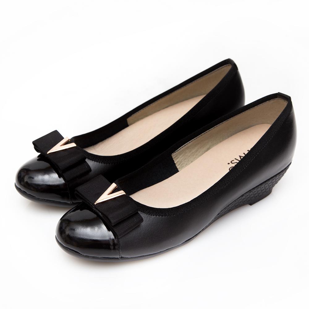 G.Ms. MIT系列-V字金屬雙層蝴蝶結牛皮楔型跟鞋-黑色