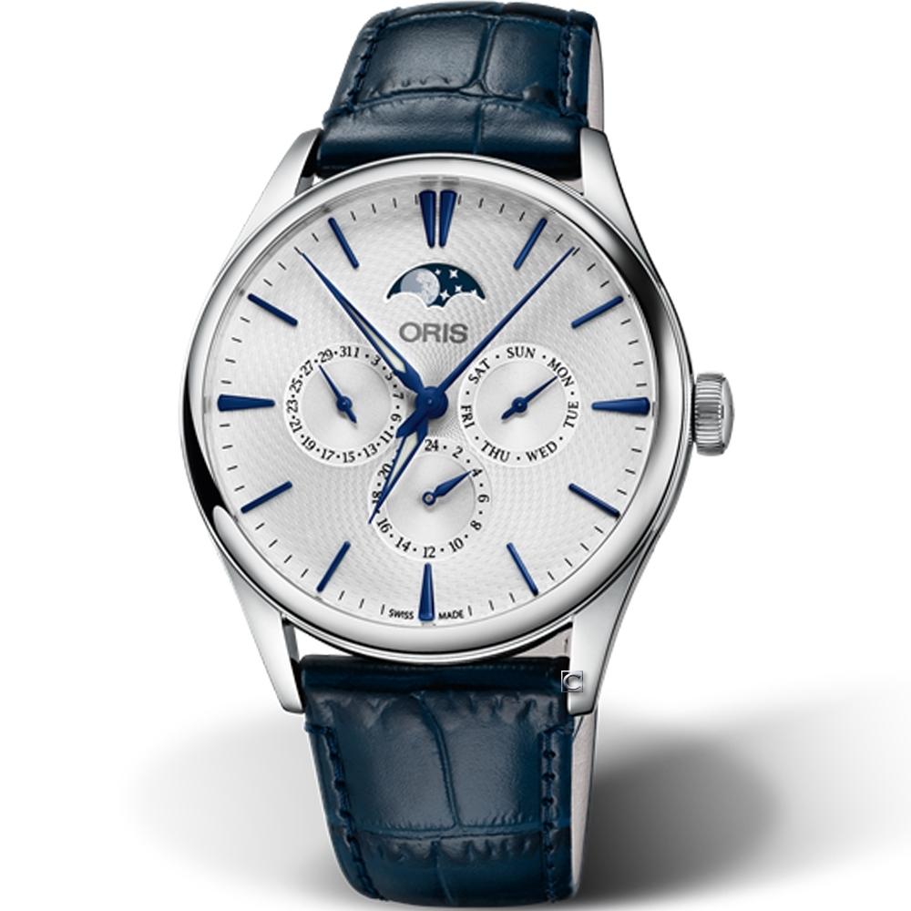 Oris豪利時Artelier月相盈虧機械錶-40mm/藍