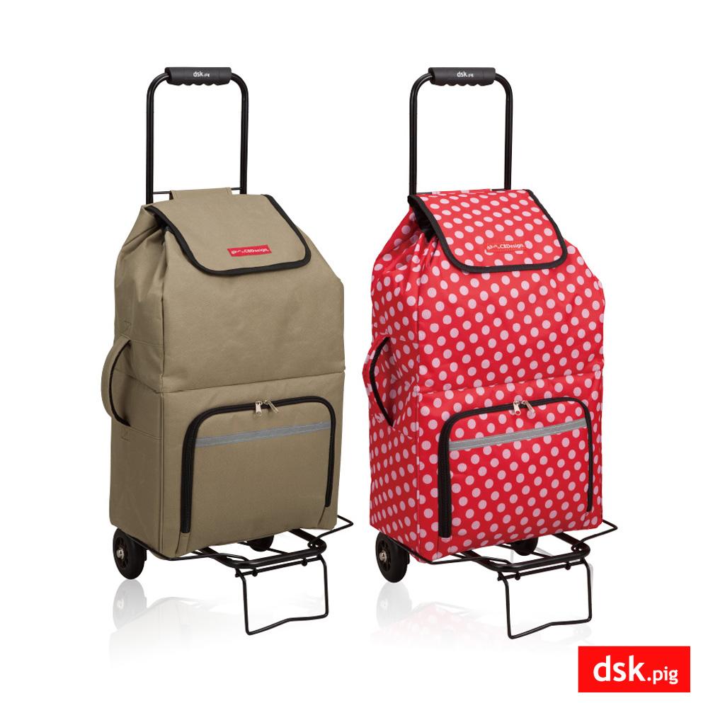 [福利品] 日本DSK.PIG 新一代保冷折疊購物車(棕/紅)