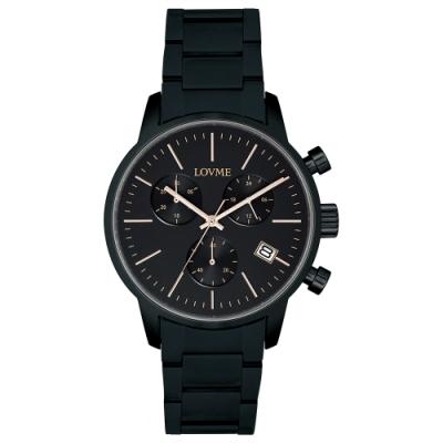 LOVME 城市獵人不鏽鋼三眼時尚手錶-IP黑/43mm