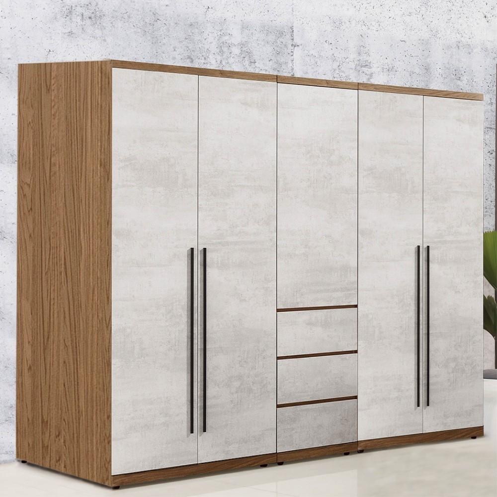 D&T 德泰傢俱 DINO清水模風格6.8尺雙吊x2+三抽衣櫃 -205x57x202cm