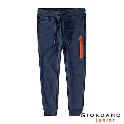 GIORDANO 童裝內鋪絨保暖口袋束口褲-21 雪花仿段彩靛藍