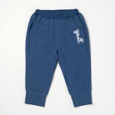 PIPPY 趣味長頸鹿9分鬆緊針織長褲 藍
