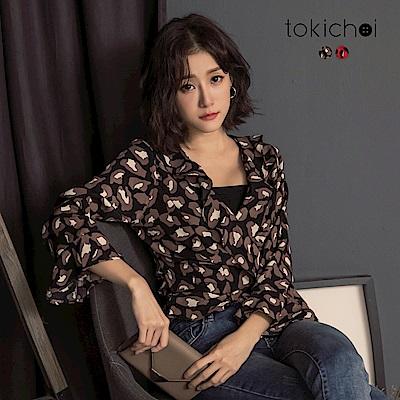 東京著衣 時尚豹紋荷葉邊喇叭袖雪紡上衣-S.M(共二色)