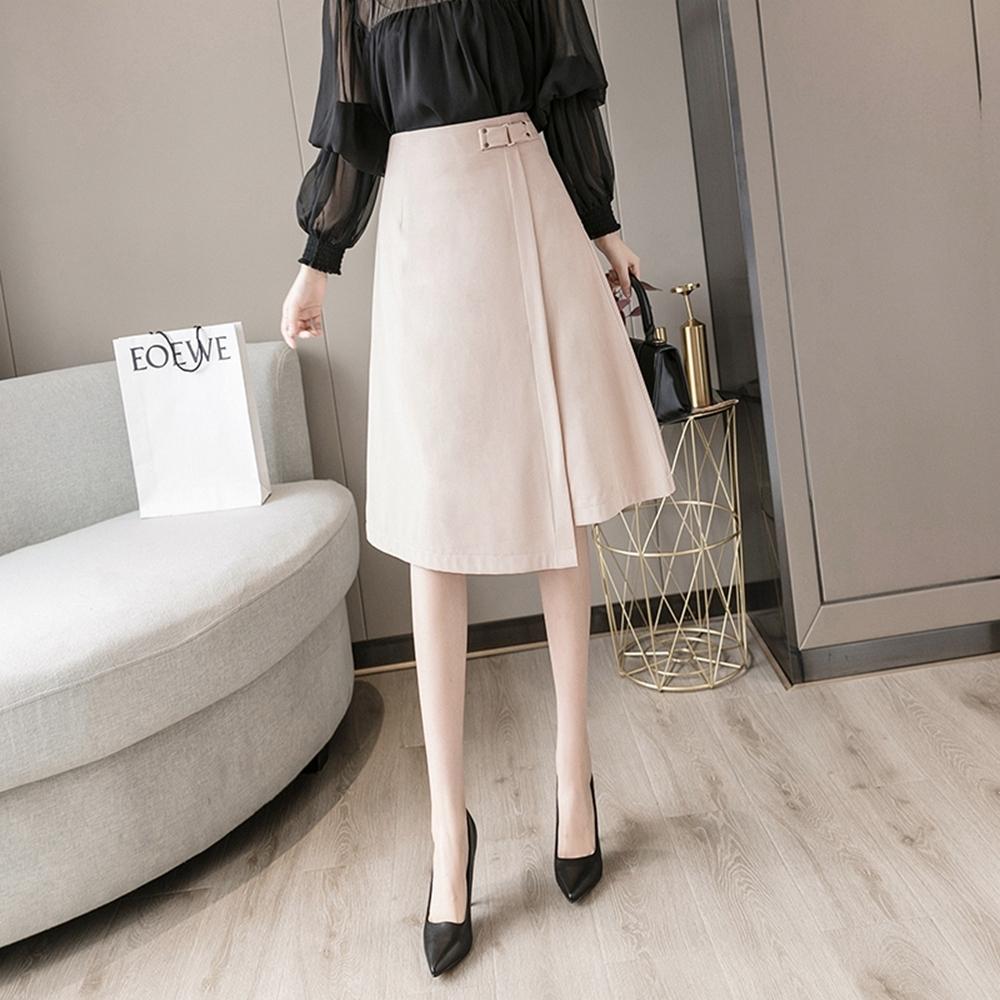 時尚純色高腰不規則半身裙S-XL(共二色)-WHATDAY