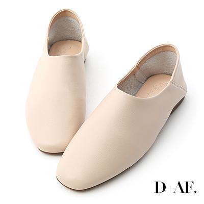 D+AF 極簡定番.素面方頭可後踩懶人鞋*杏