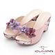 【CUMAR】花色拼接皮革楔型台涼拖鞋-淺粉紅 product thumbnail 1
