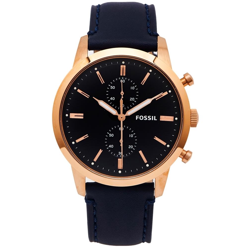 FOSSIL 霸氣圓弧鏡面計時皮革錶帶手錶(FS5436)-藍面X藍色/44mm