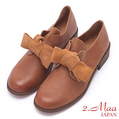 2.Maa 可愛蝴蝶結羊皮紳士跟鞋 - 棕