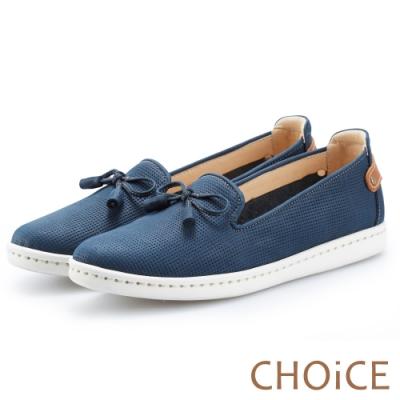 CHOiCE 舒適渡假款 蝴蝶結牛皮厚底休閒鞋-藍色