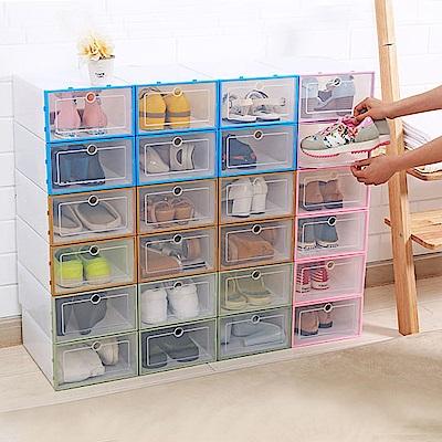 【Incare】日式加厚加寬掀蓋型透明收納鞋盒(4色可選/6入組)