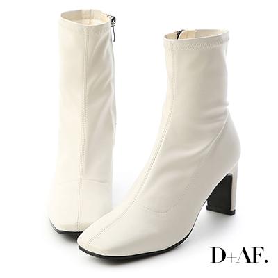 D+AF 時尚魅力.復古方頭車線扁跟襪靴*白