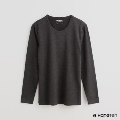 Hang Ten - 男裝 -ThermoContro-素面運動機能圓領長袖上衣-灰