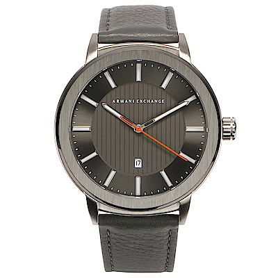 A/X Armani Exchange 知性簡約都會真皮錶帶男腕錶(AX1462-45mm