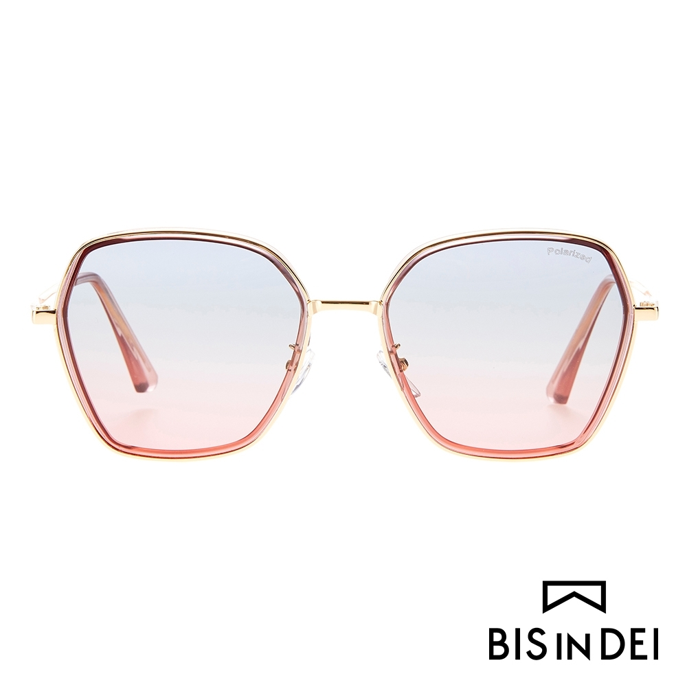 BIS IN DEI 金屬多角形框太陽眼鏡-粉