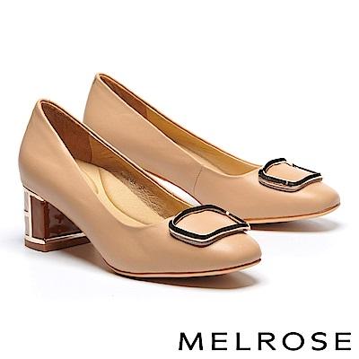 高跟鞋 MELROSE 簡約大方金屬飾釦特色鞋跟羊皮高跟鞋-米