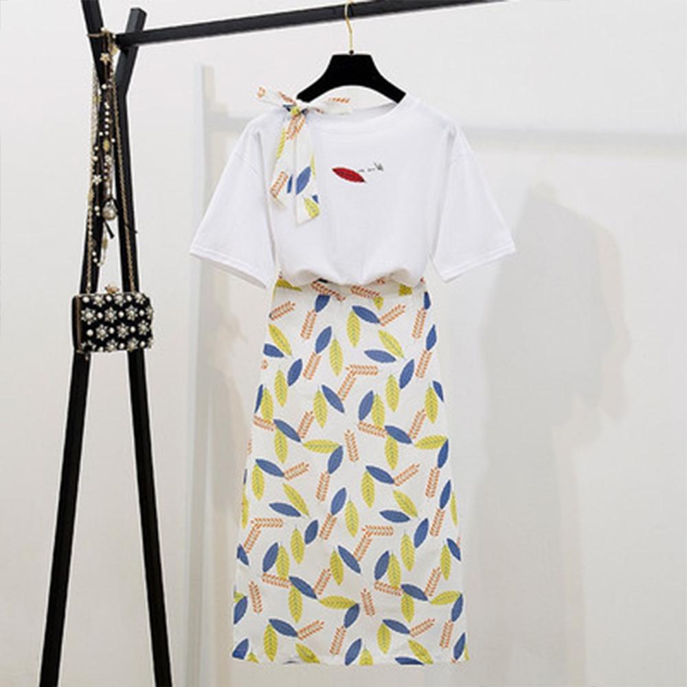 初色  綁帶上衣+葉子印花裙兩件式套裝-共2色-(M-2XL可選)